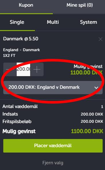 Risikofrit spil på 200 Kroner på England v Danmark